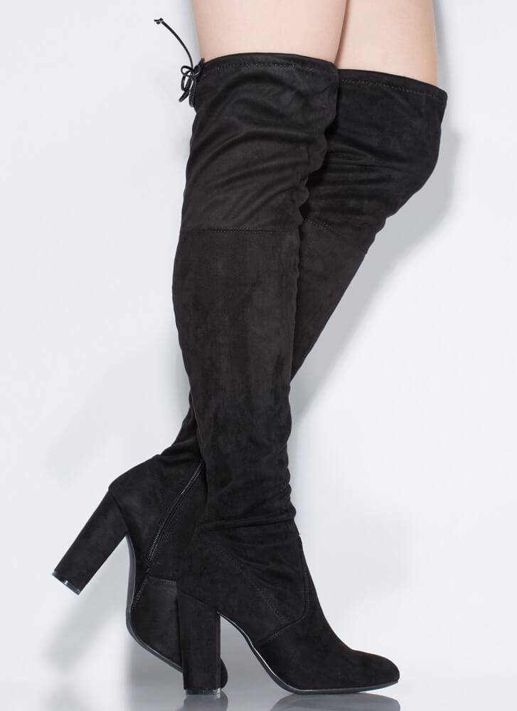 Yes Woman Chunky Tied Thigh-High Boots BLACK