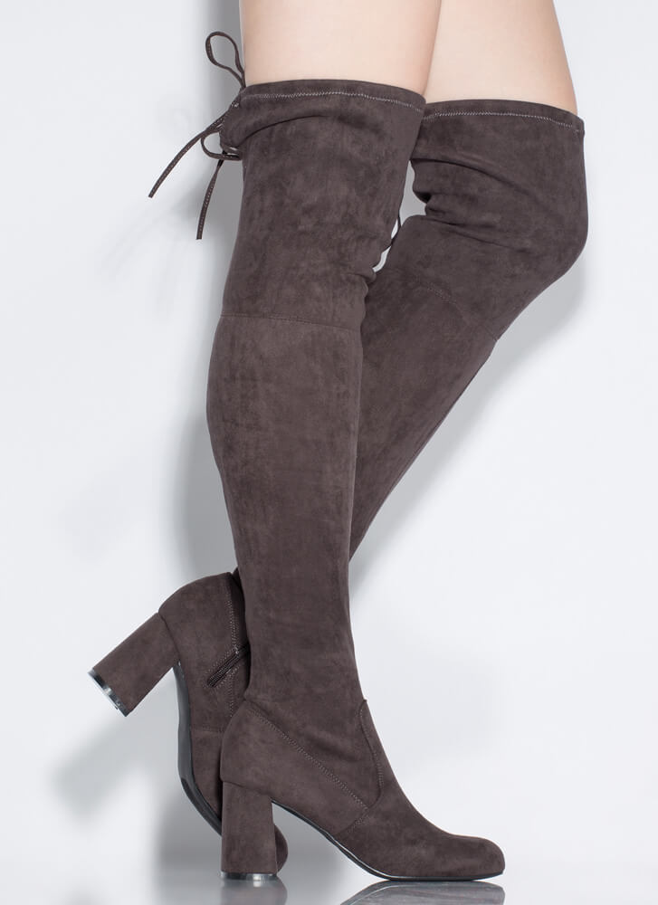 Yes Woman Chunky Tied Thigh-High Boots GREY
