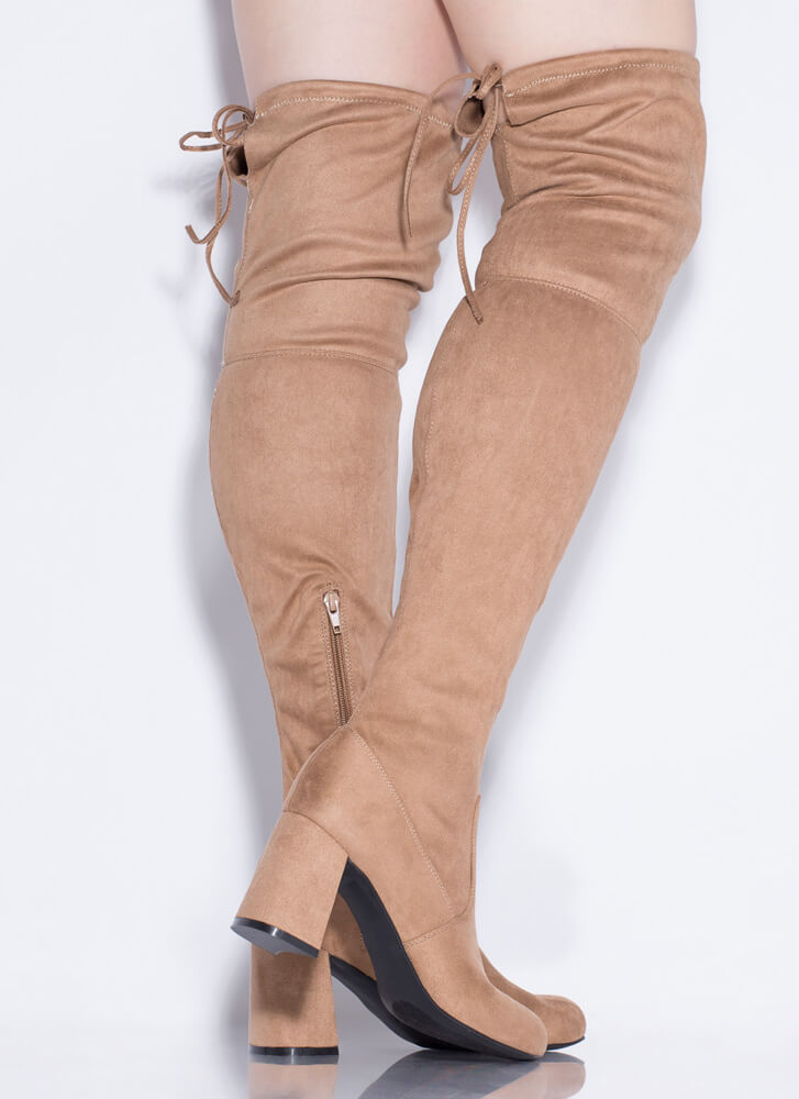 Yes Woman Chunky Tied Thigh-High Boots TAUPE