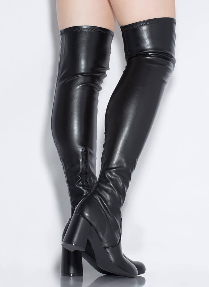 So Slick Faux Leather Thigh-High Boots BLACK