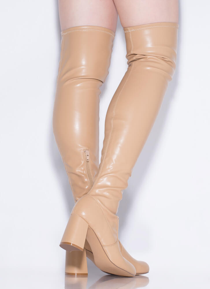 So Slick Faux Leather Thigh-High Boots CAMEL