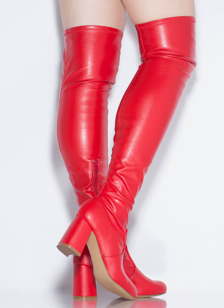 So Slick Faux Leather Thigh-High Boots RED