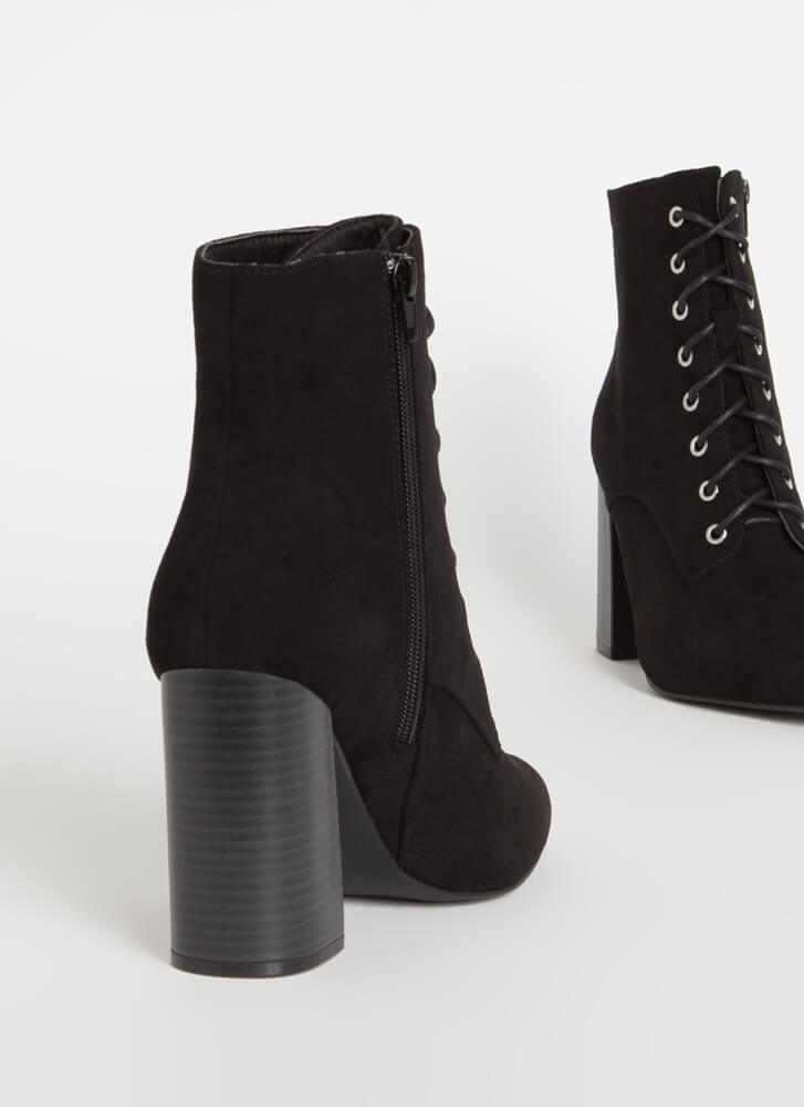 Fall In Love Chunky Lace-Up Booties BLACK