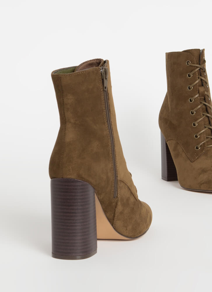 Fall In Love Chunky Lace-Up Booties OLIVE