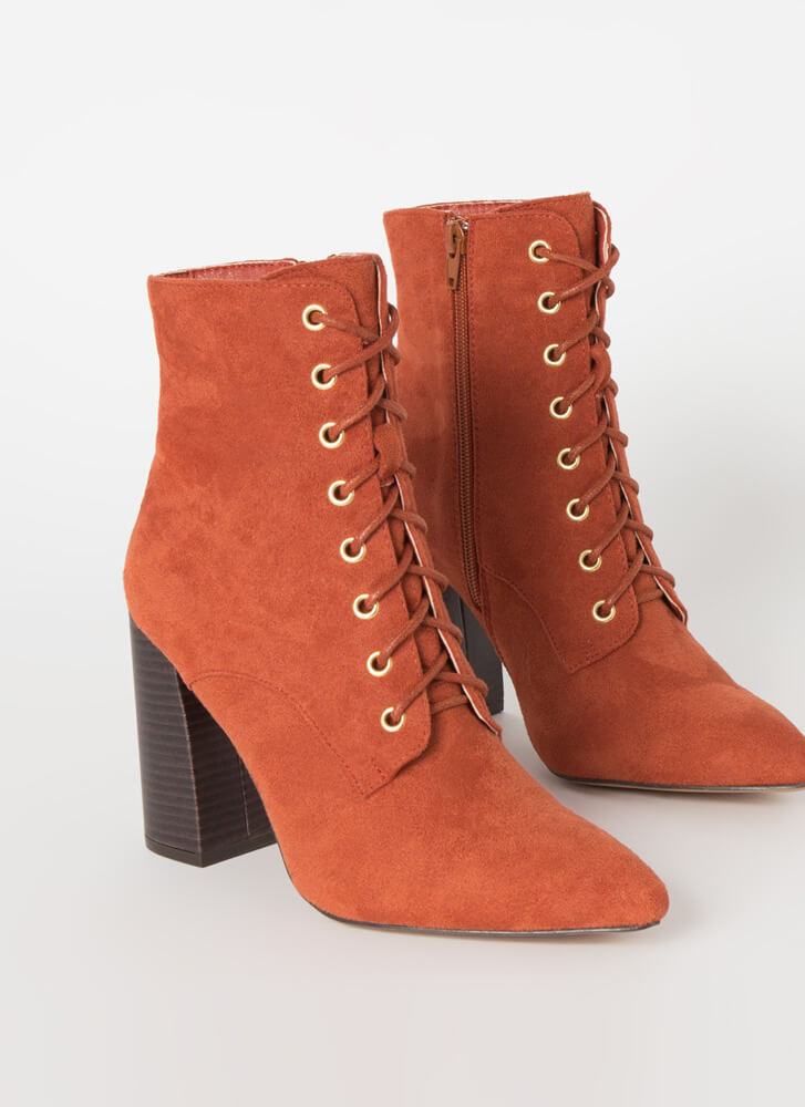 Fall In Love Chunky Lace-Up Booties TERRACOTTA