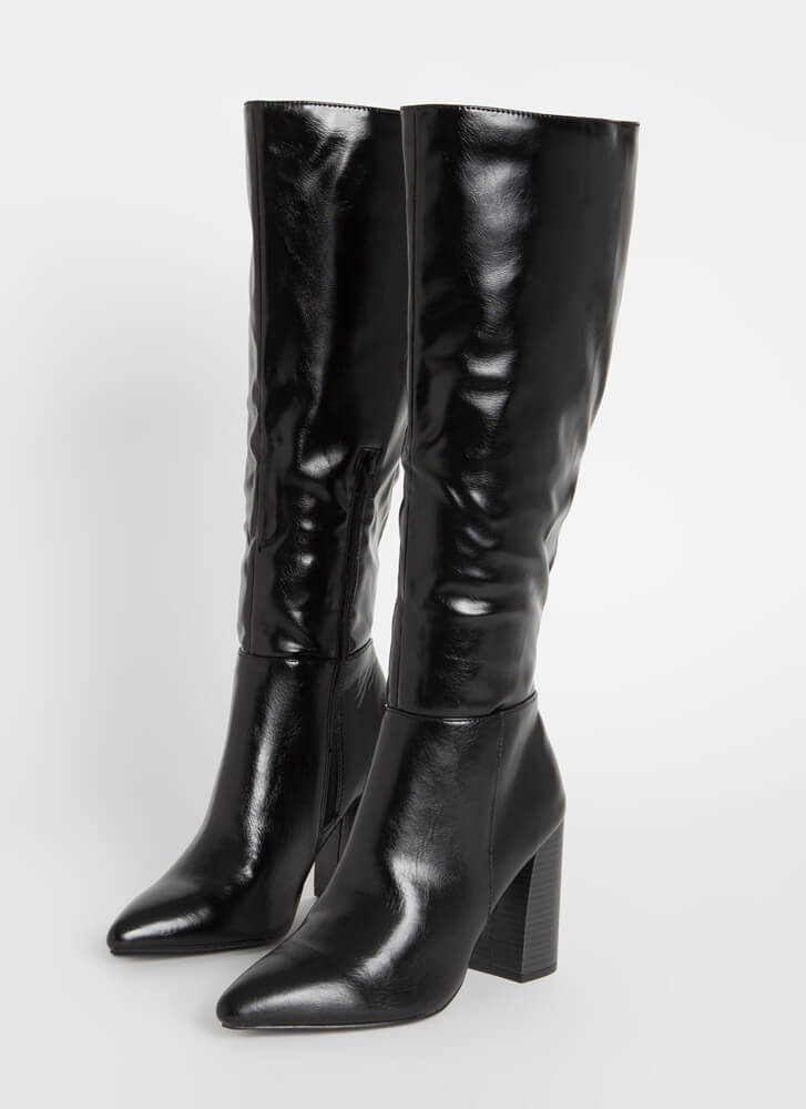 Gloss Lady Faux Leather Knee-High Boots BLACK