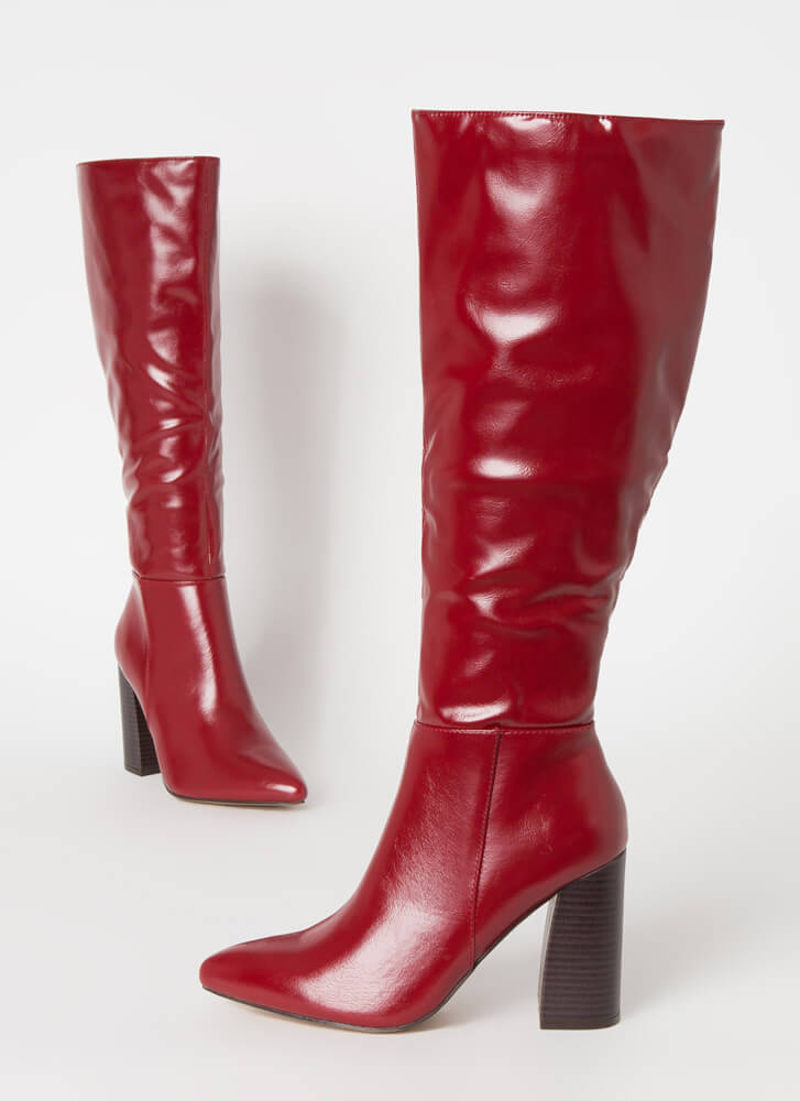 Gloss Lady Faux Leather Knee-High Boots WINE