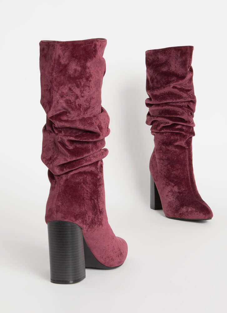 Glam Rock Chunky Slouchy Velvet Boots WINE