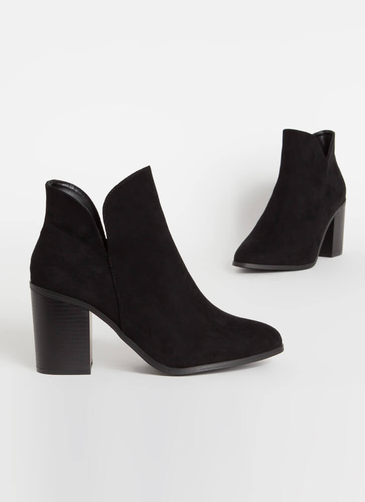 Buy Me Tulips Chunky Faux Suede Booties BLACK