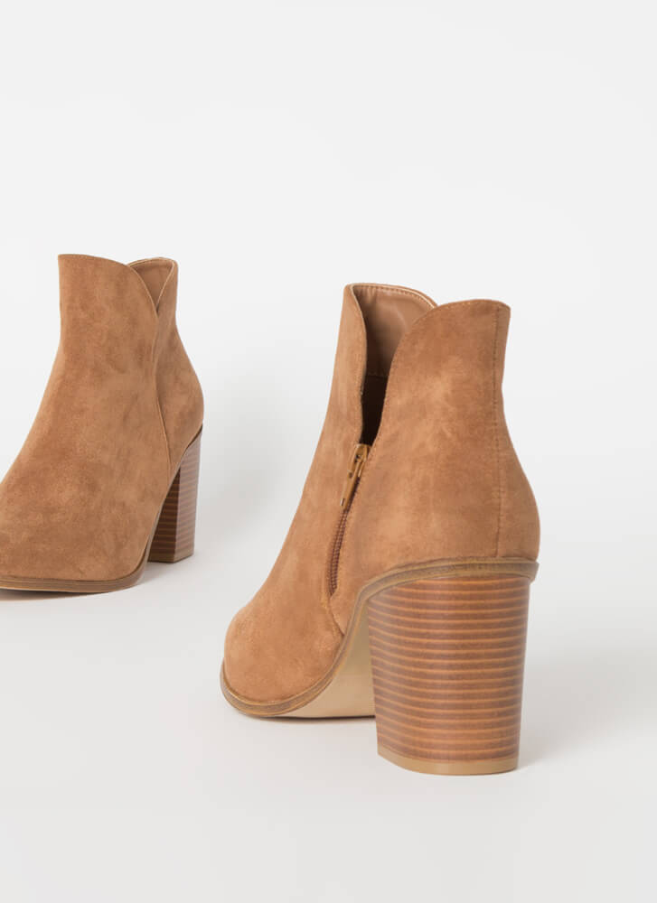 Buy Me Tulips Chunky Faux Suede Booties TAN