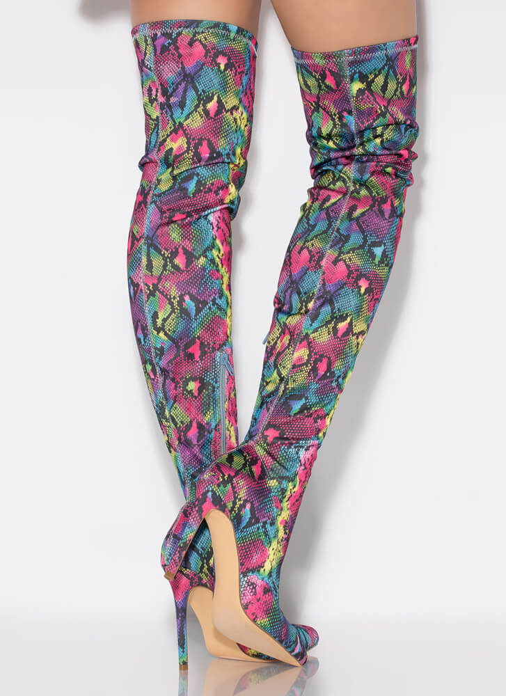 In Color Thigh-High Graffiti Snake Boots RAINBOWMULTI