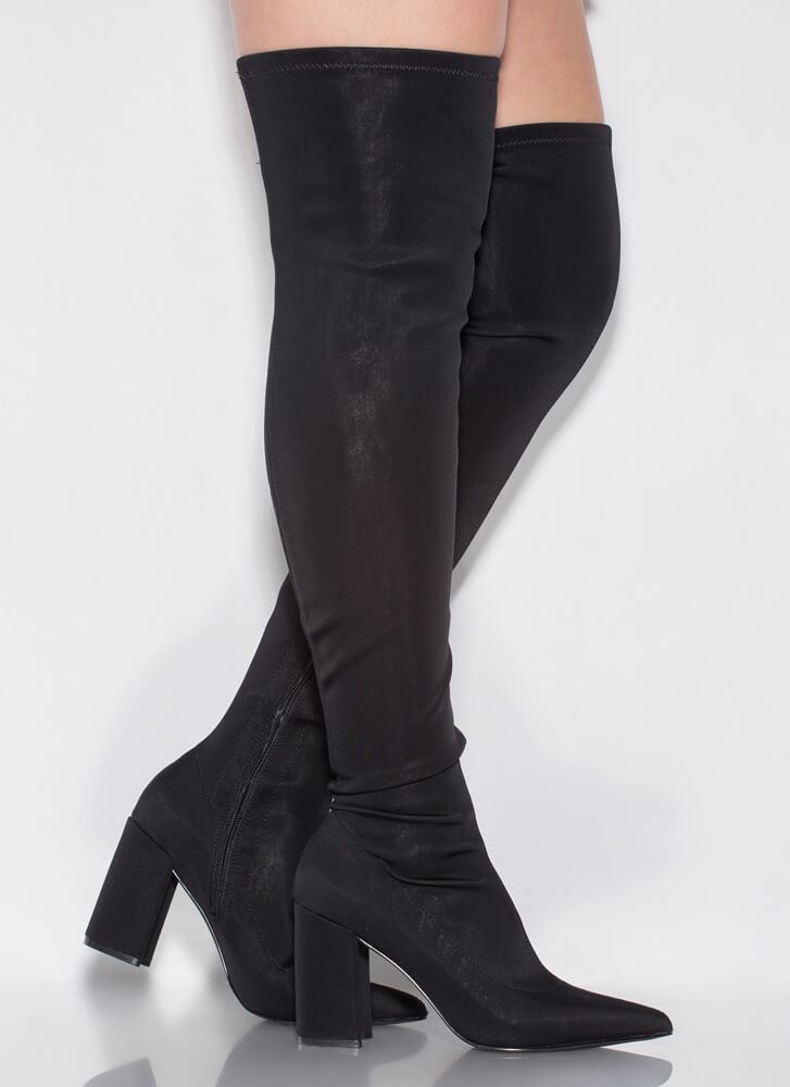 Get To The Pointy Nylon Thigh-High Boots BLACK