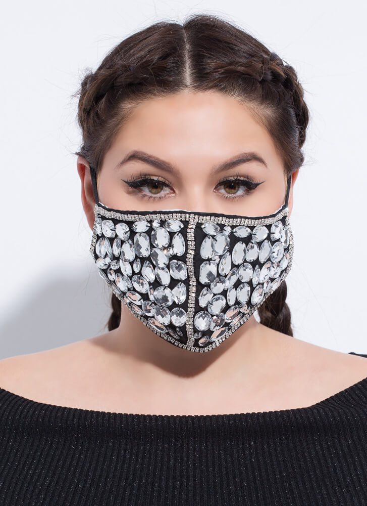Crystal Clear Jeweled Face Mask BLACKCLEAR