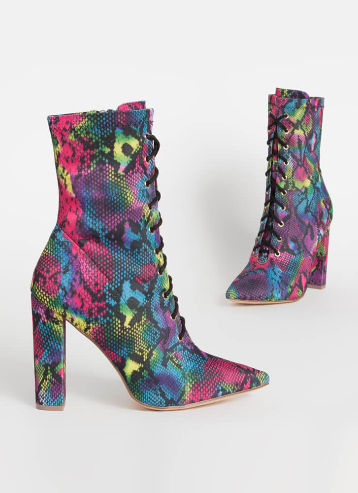 Point For You Lace-Up Snake Booties MULTI