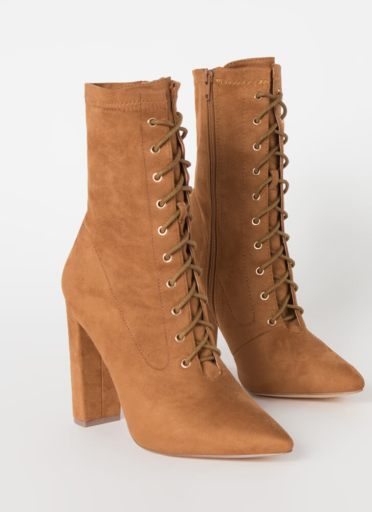Point For You Lace-Up Faux Suede Booties TAN