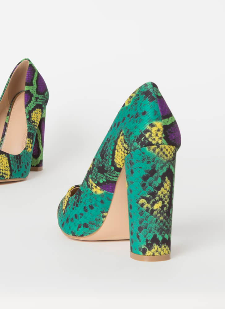 Chunky Town Pointy Snake Print Pumps GREEN