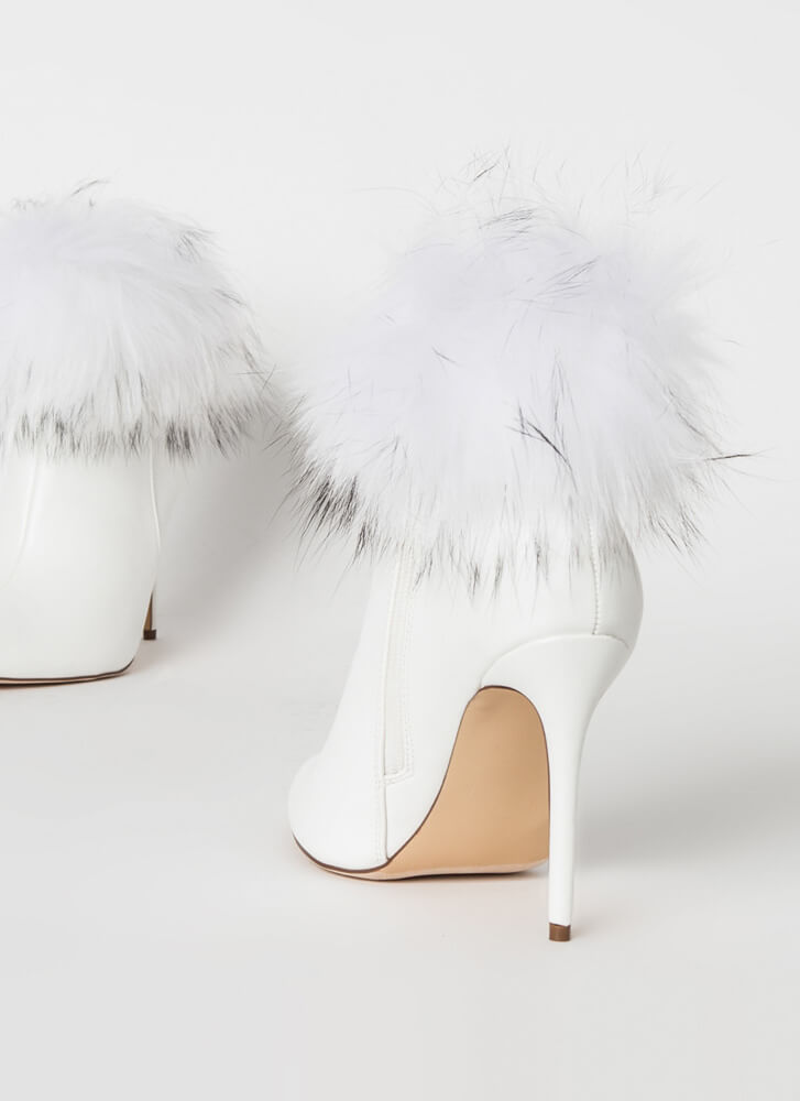 Love Shag Baby Furry Cuffed Booties WHITE