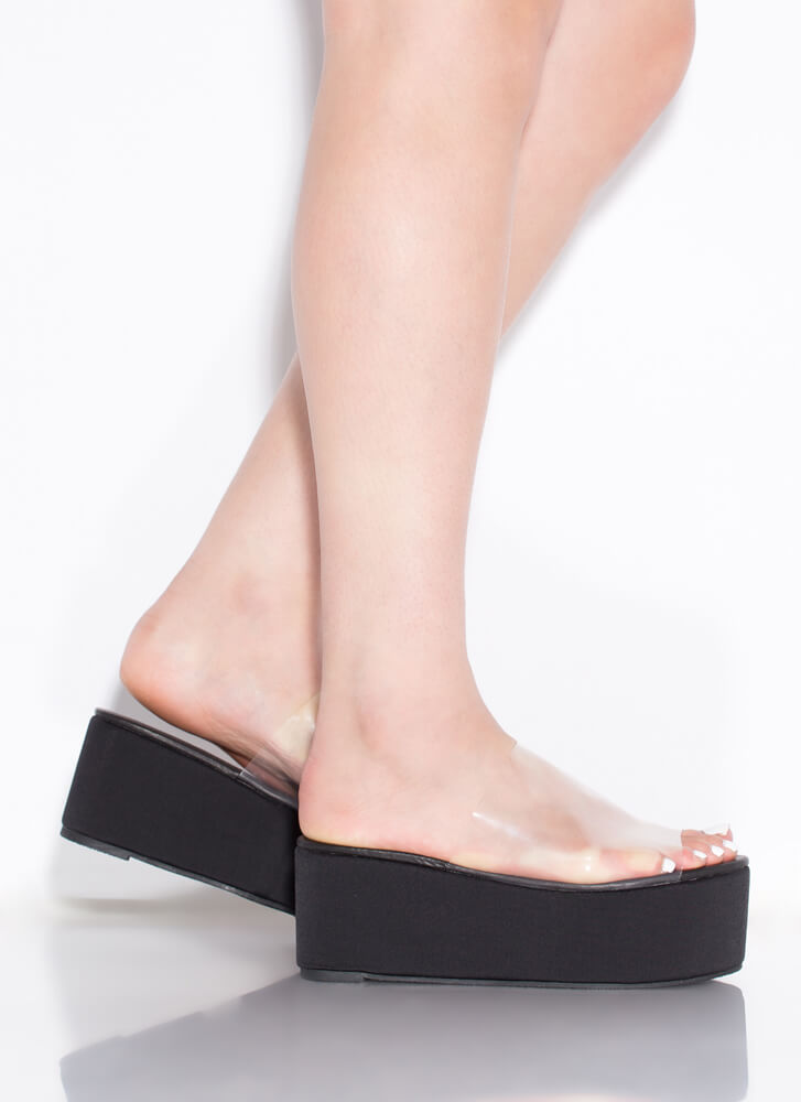 Slide Into My Clear Wedge Sandals BLACK