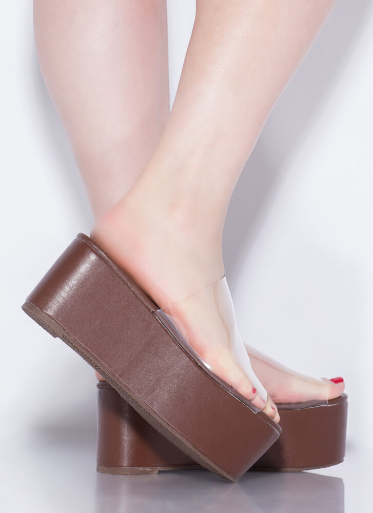 Slide Into My Clear Wedge Sandals BROWN