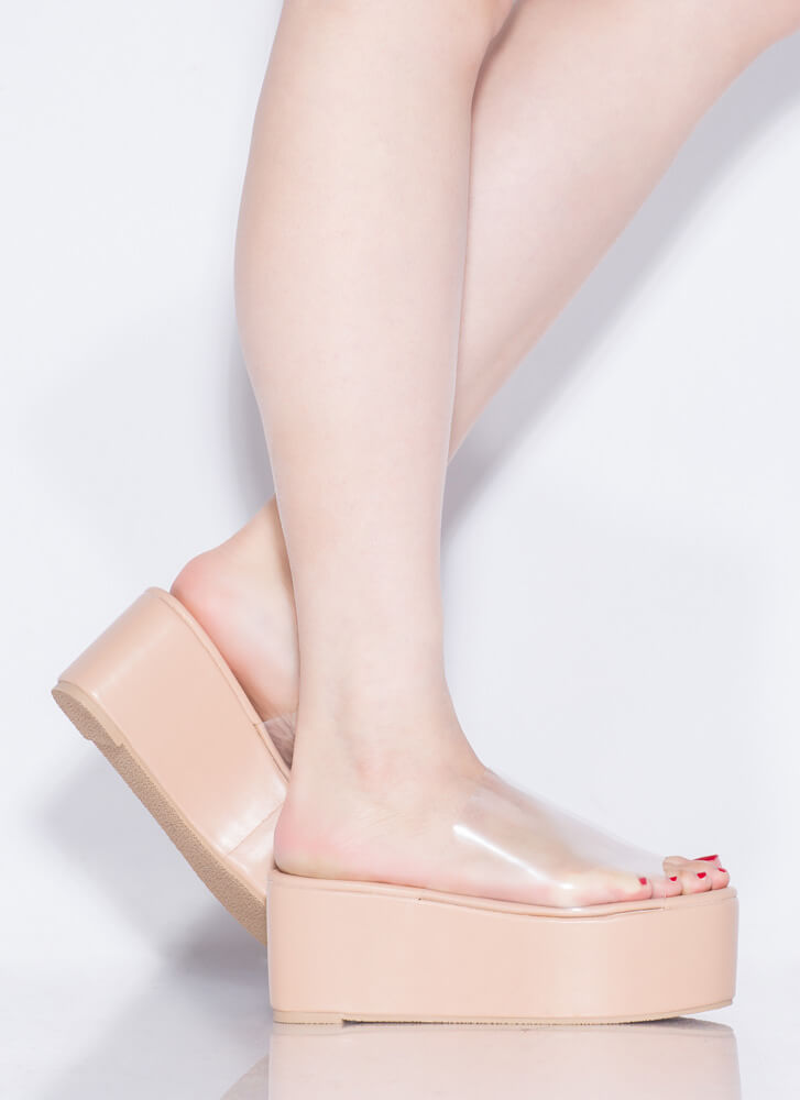 Slide Into My Clear Wedge Sandals NUDE