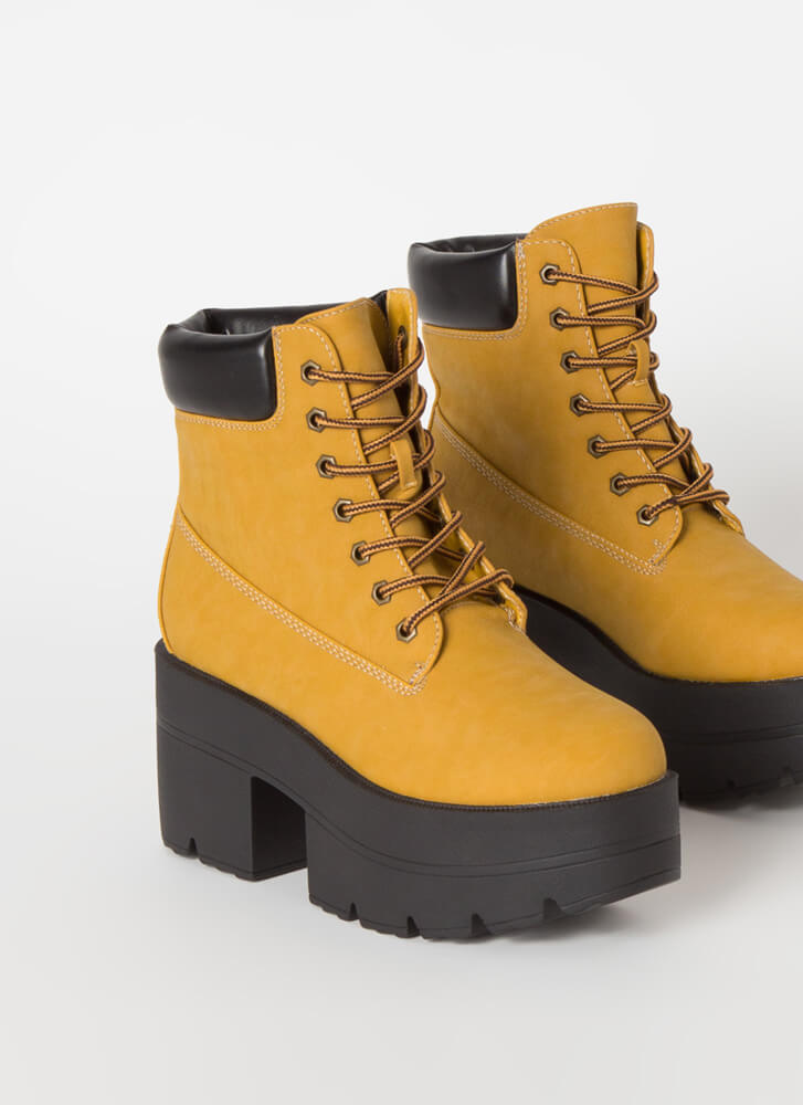 Work Day Faux Nubuck Platform Booties WHEAT