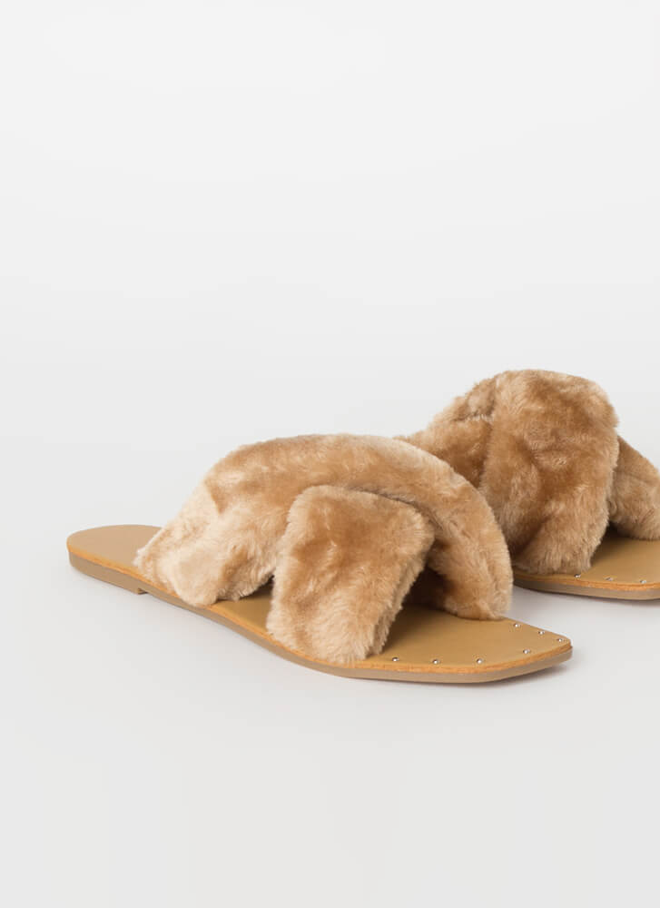 X-Scape Furry Studded Slide Sandals TAUPE