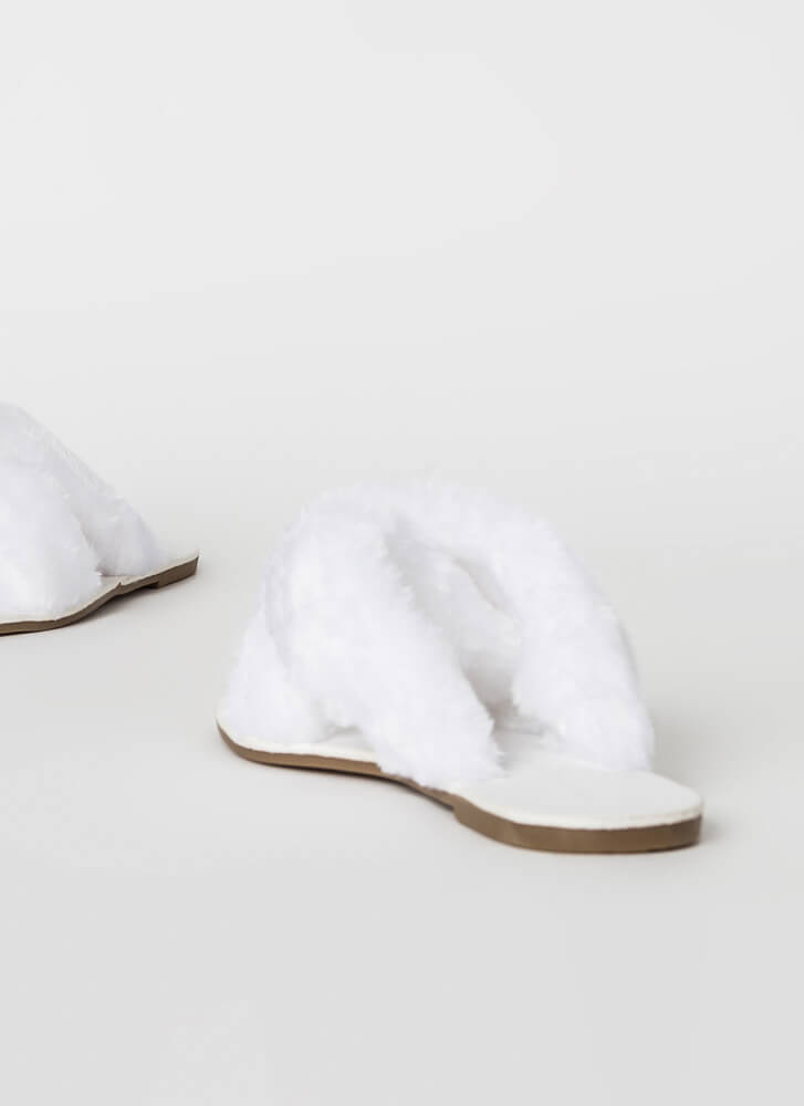 X-Scape Furry Studded Slide Sandals WHITE