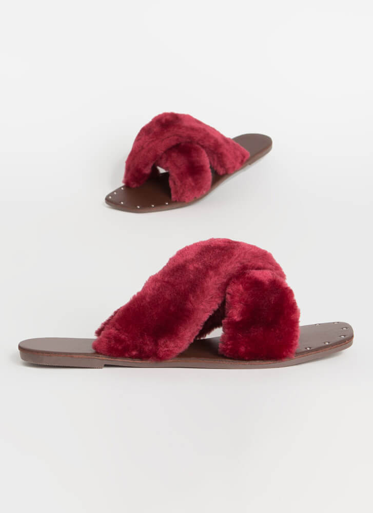 X-Scape Furry Studded Slide Sandals WINE