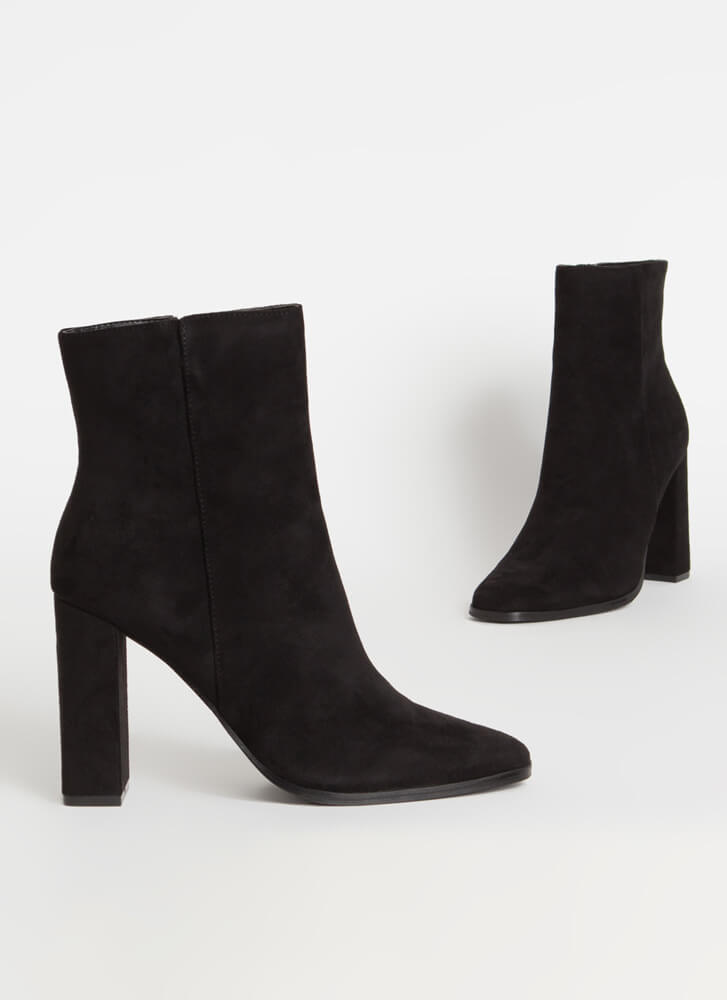 So Essential Chunky Faux Suede Booties BLACK