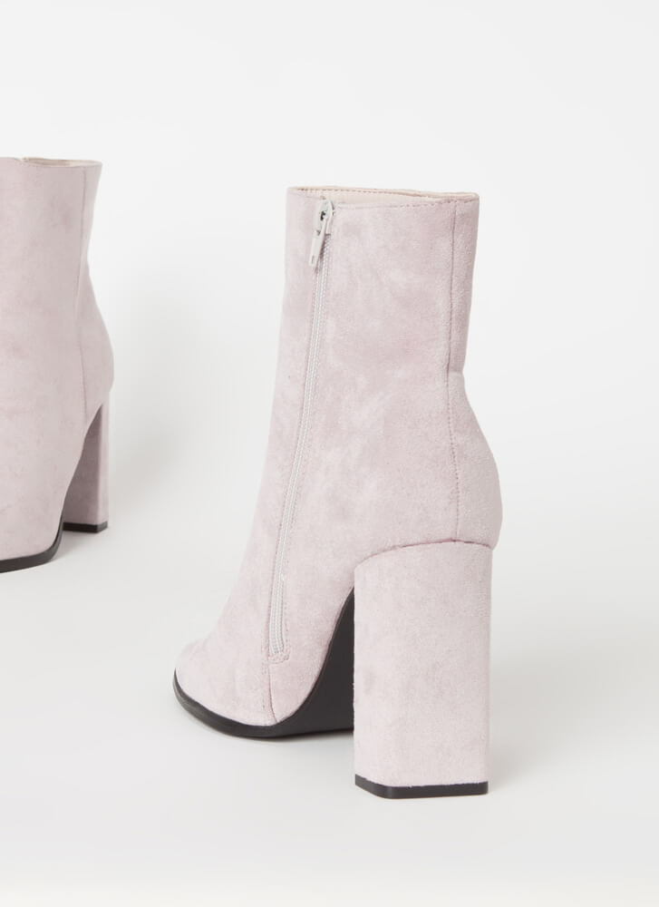 So Essential Chunky Faux Suede Booties ICE