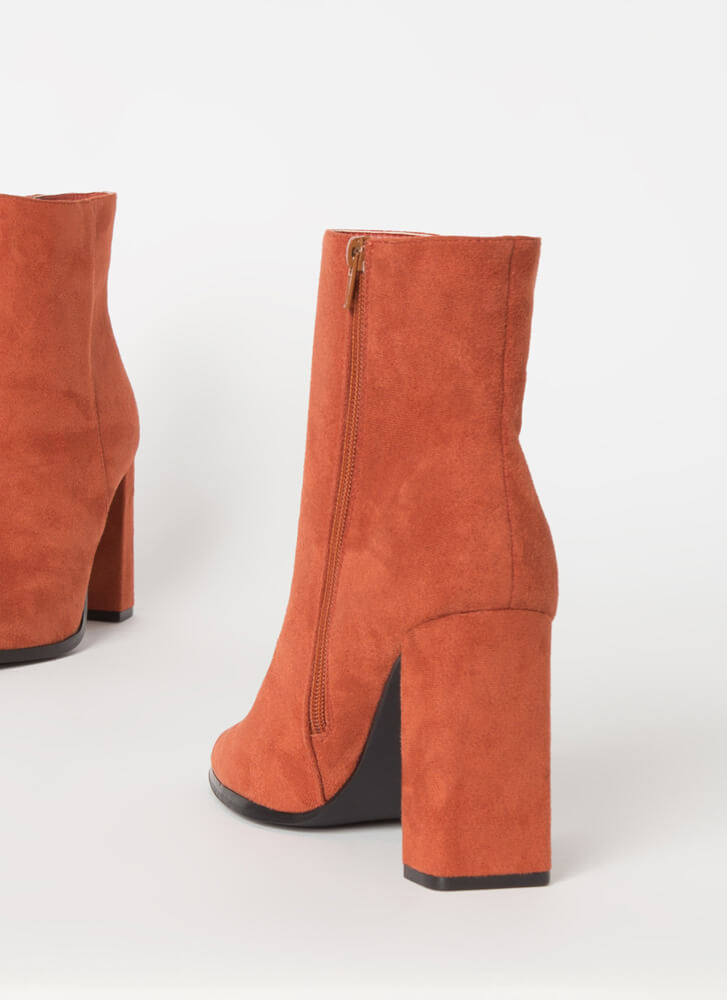 So Essential Chunky Faux Suede Booties TERRACOTTA