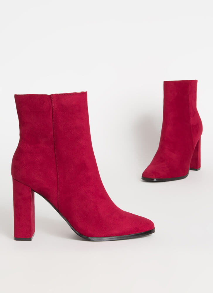 So Essential Chunky Faux Suede Booties WINE