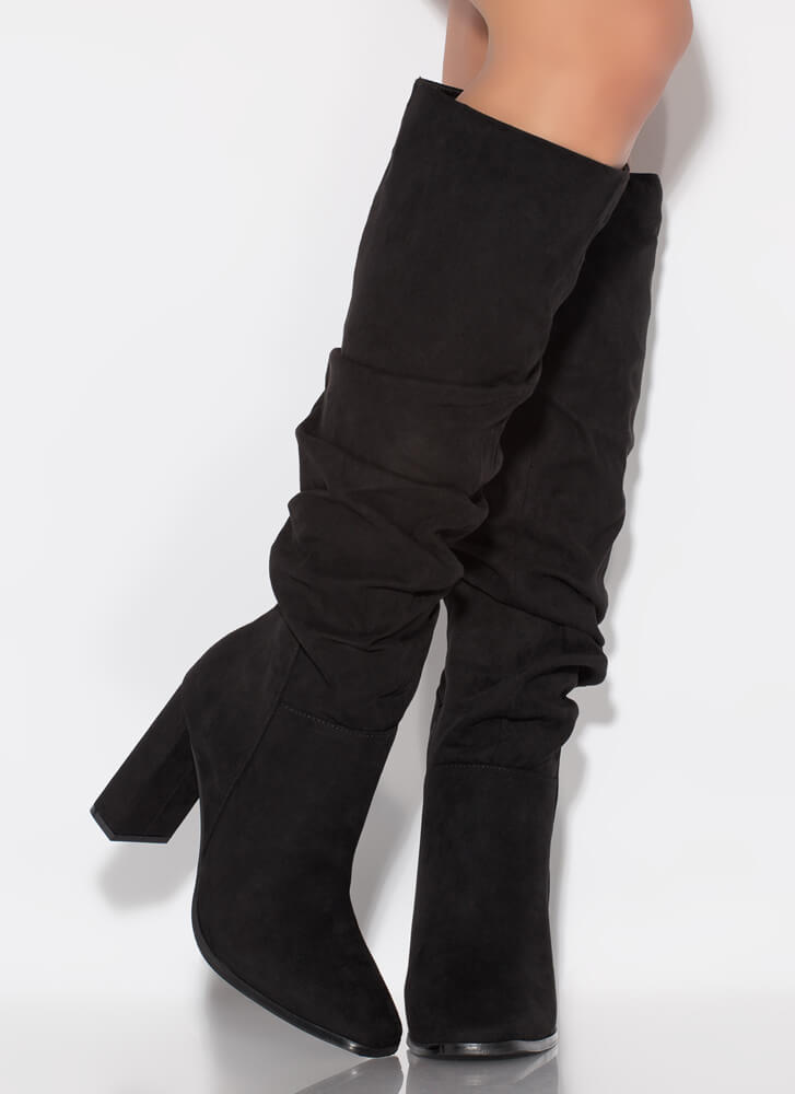 Do Slouch Chunky Knee-High Boots BLACK