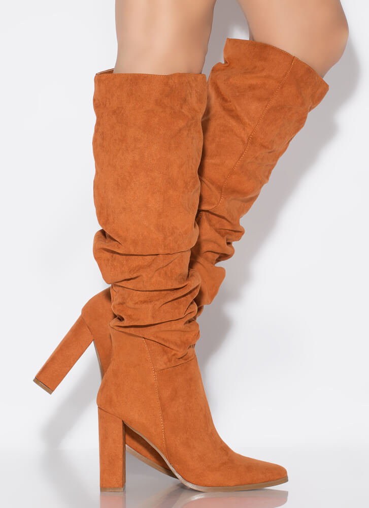 Do Slouch Chunky Knee-High Boots CHESTNUT