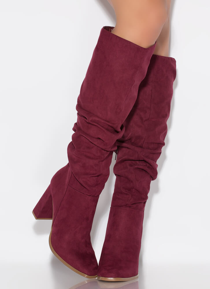 Do Slouch Chunky Knee-High Boots WINE