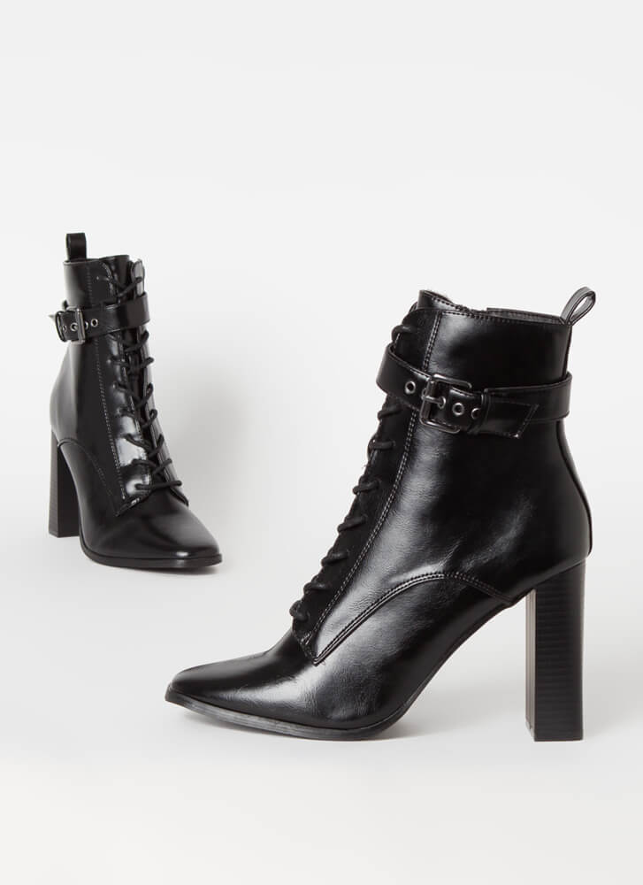 Lookin' Sharp Ankle Strap Lace-Up Booties BLACK