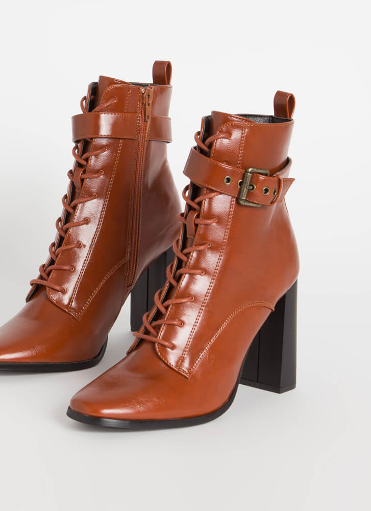 Lookin' Sharp Ankle Strap Lace-Up Booties CHESTNUT