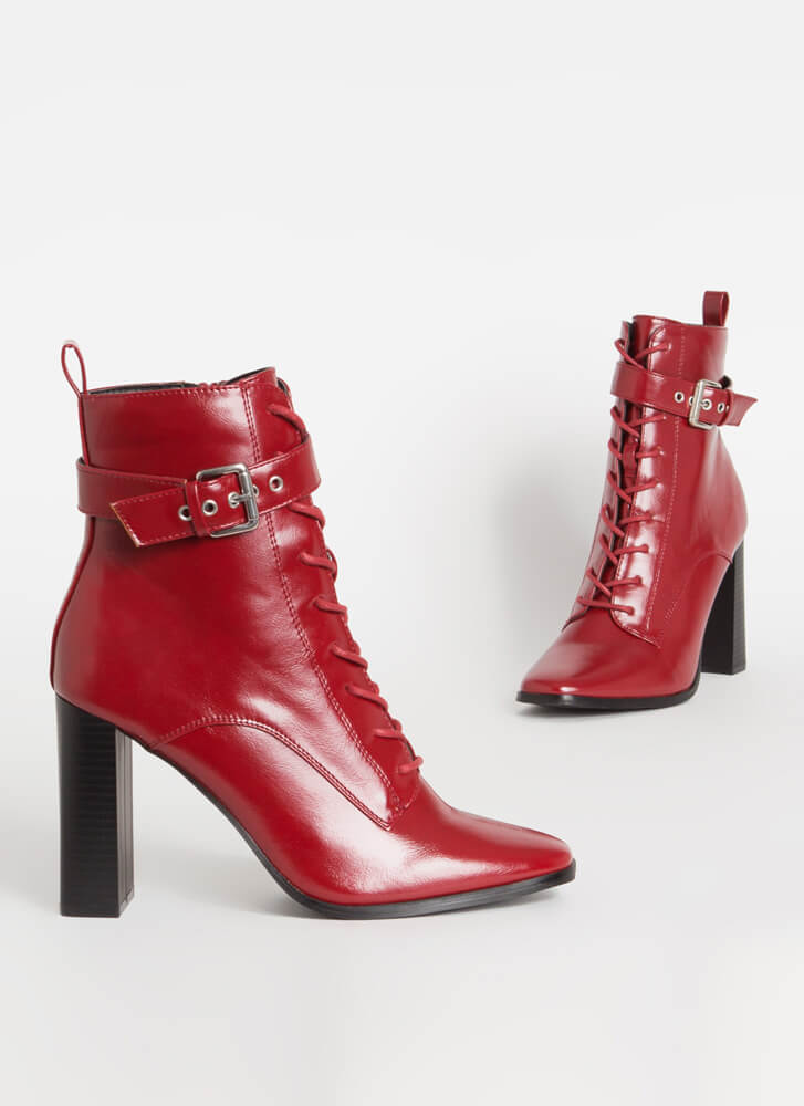 Lookin' Sharp Ankle Strap Lace-Up Booties WINE