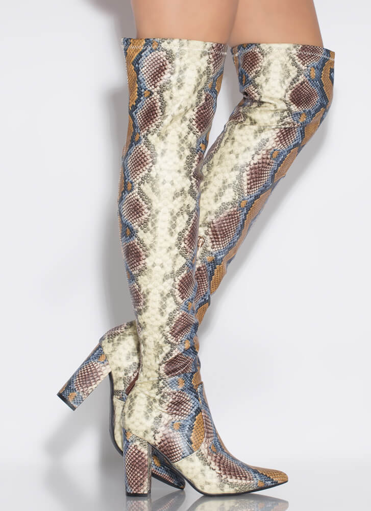 Snake Magic Chunky Thigh-High Boots CAMEL