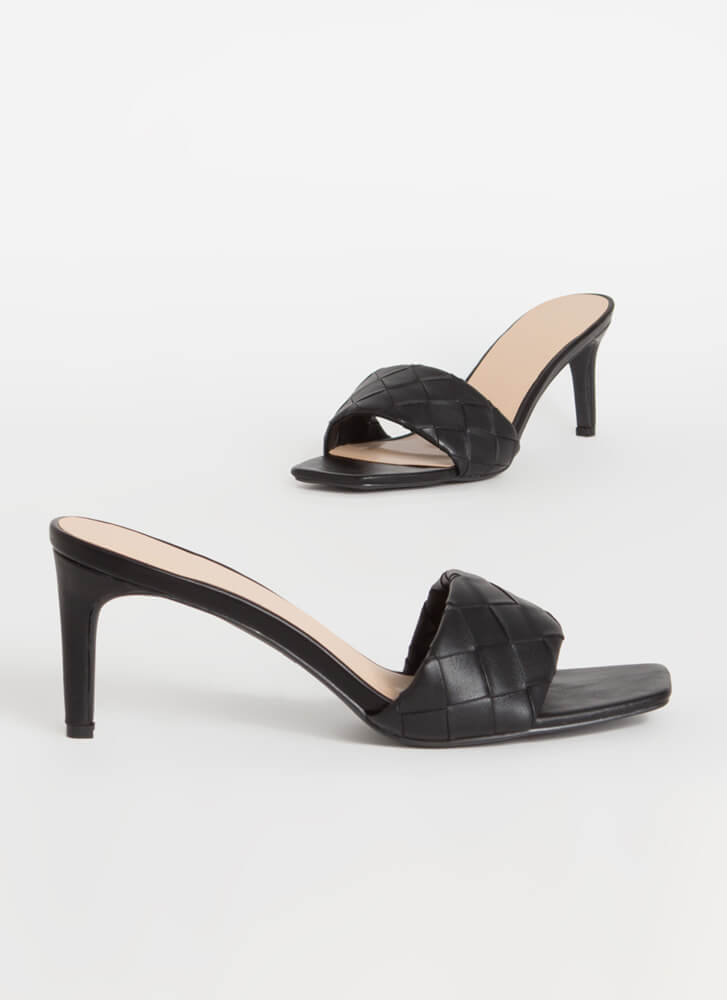 Over-Under And Out Woven Mule Heels BLACK