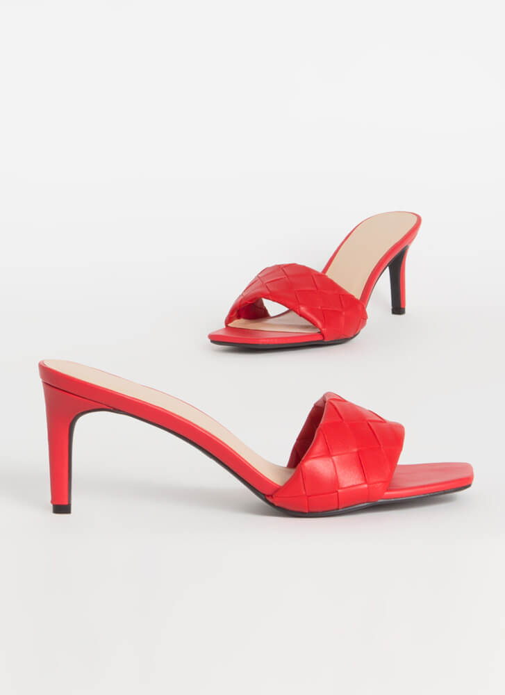 Over-Under And Out Woven Mule Heels RED