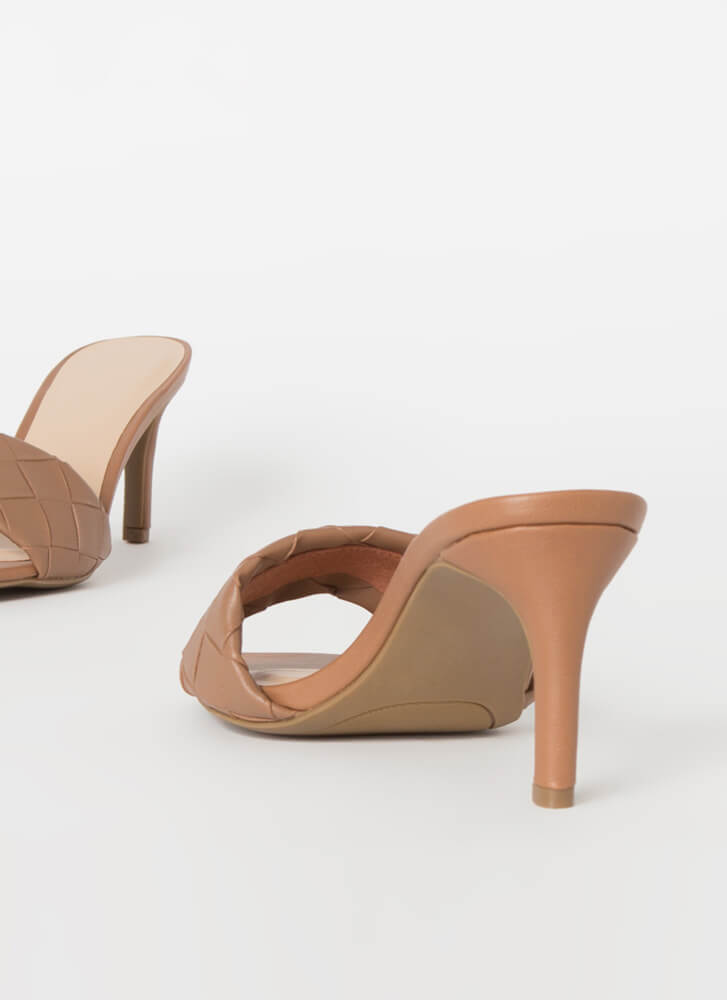 Over-Under And Out Woven Mule Heels TAN