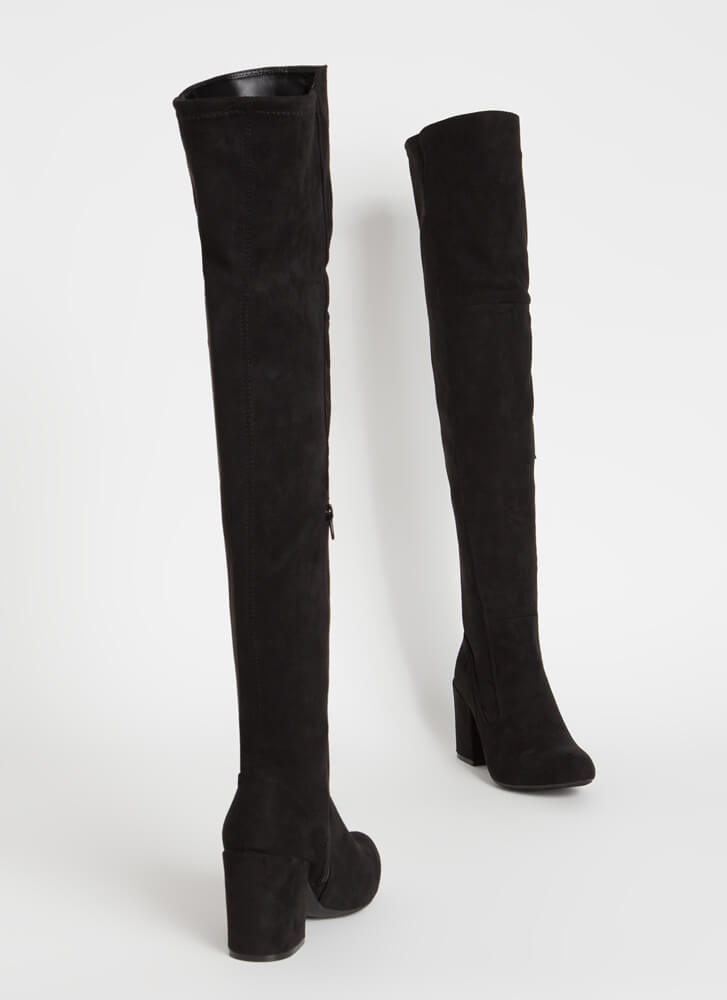 Pull Me In Block Heel Thigh-High Boots BLACK