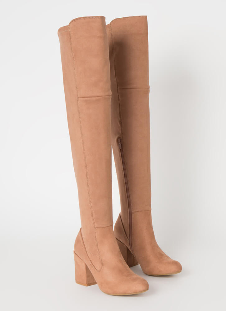 Pull Me In Block Heel Thigh-High Boots CAMEL