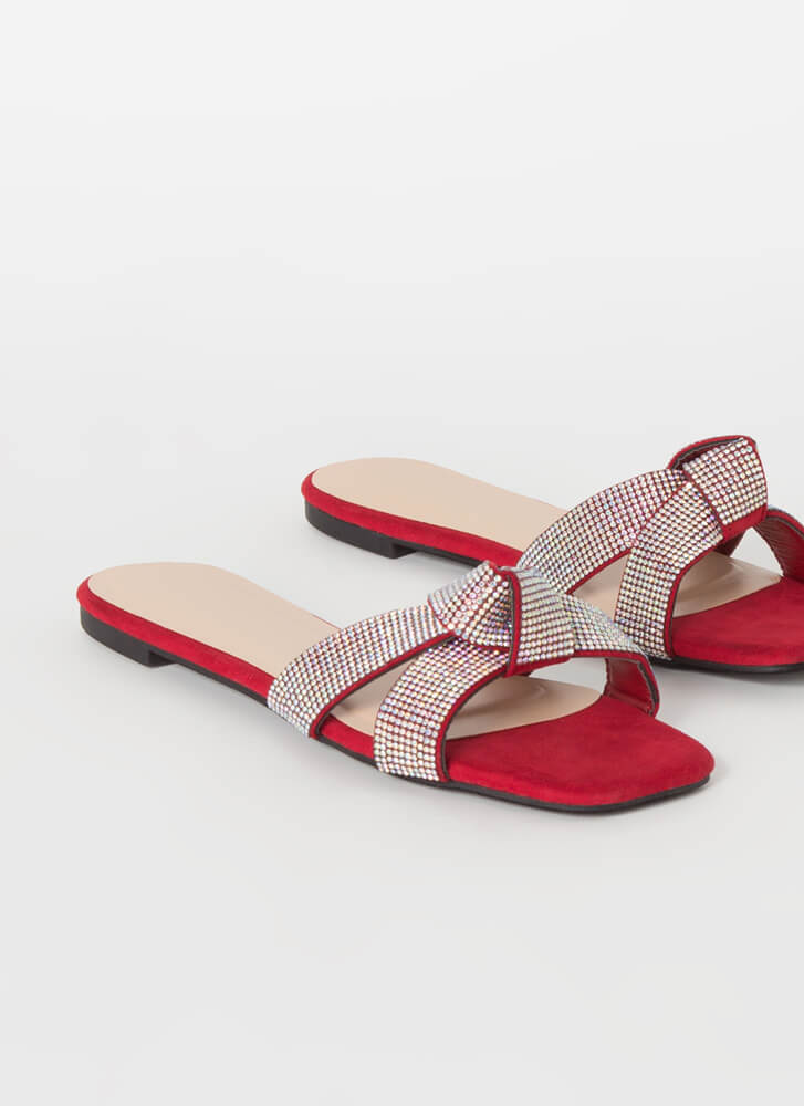 Festive Knotted Jeweled Slide Sandals RED