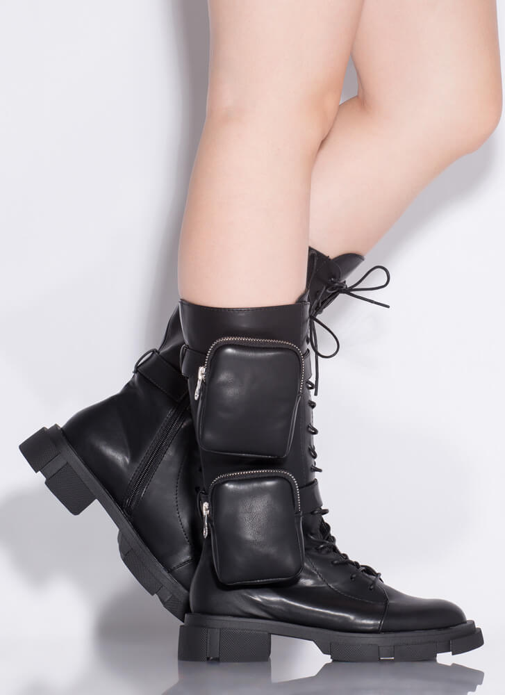 I'll Carry You Pouch Strap Combat Boots BLACK