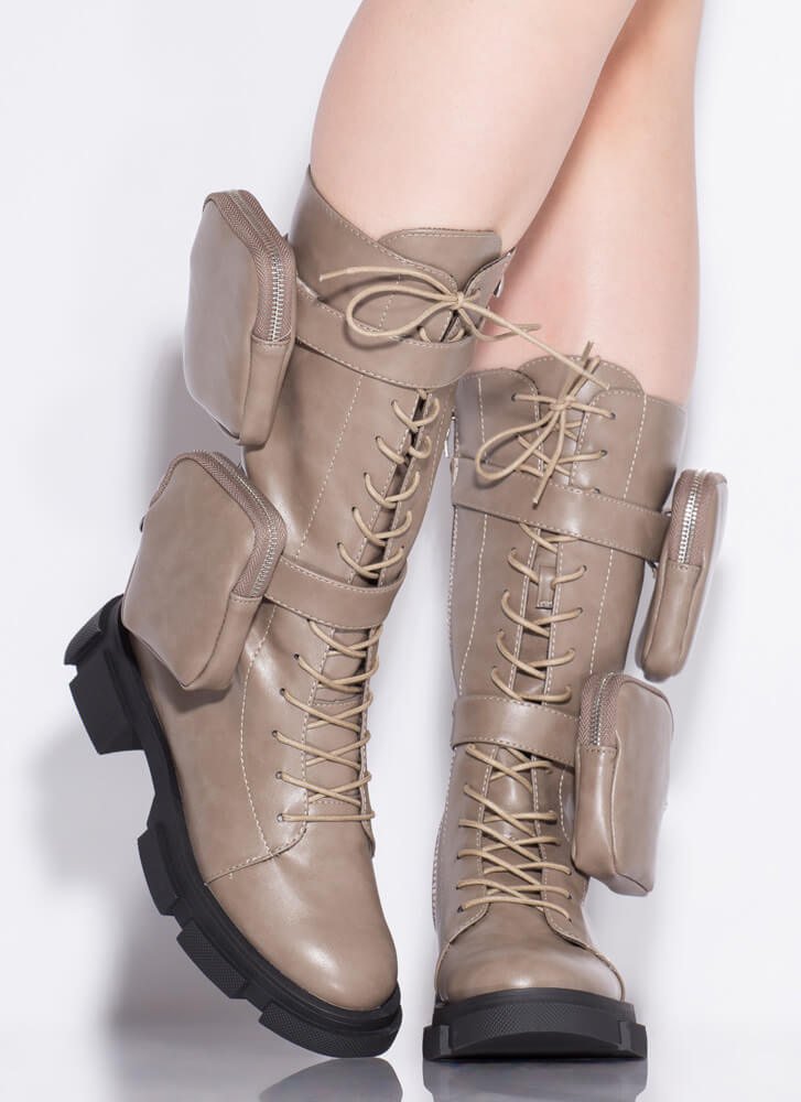 I'll Carry You Pouch Strap Combat Boots TAUPE