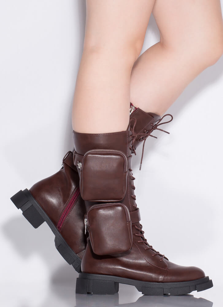 I'll Carry You Pouch Strap Combat Boots WINE