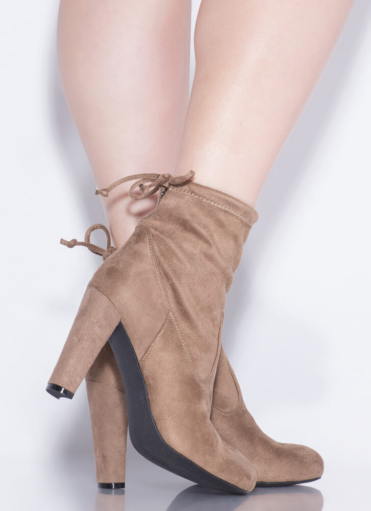 Drawstring Me In Chunky Tied Booties TAUPE