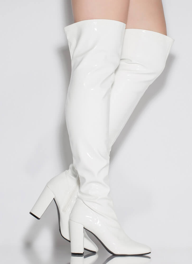 Slaying Faux Patent Thigh-High Boots WHITE